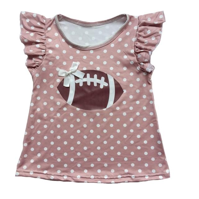 ab318718064 vinyl heated Football dusty pink Polka Dots baby flutter sleeve girls ruffle  shirts