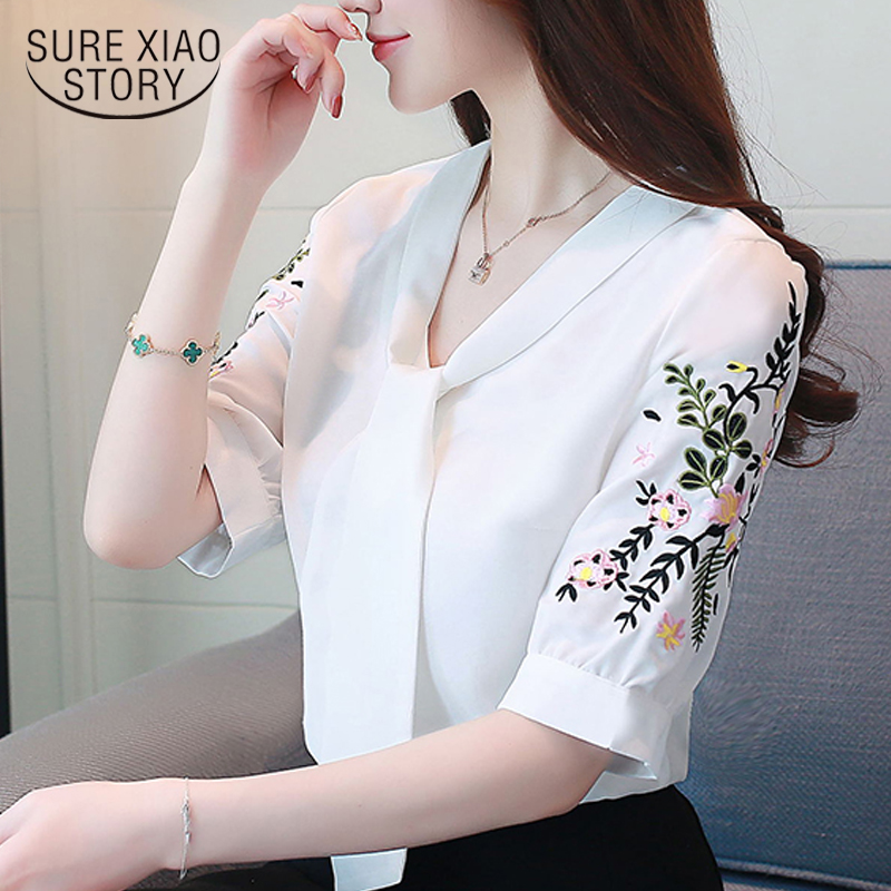 chiffon office lady shirt women blouse short sleeve summer women tops plus size embroidery 2019 women clothing blusas 0029 30 Рубашка