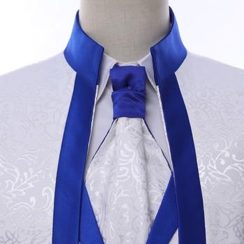 Branco Azul Royal Borda Roupas de Palco Para Homens Terno Conjunto Ternos de Casamento Dos Homens Traje Noivo Smoking Formal (Jaqueta + calça + colete + gravata) 1