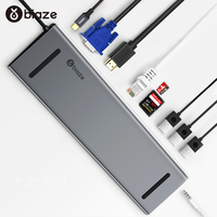 Biaze USB 3.0 HUB USB C to HDMI VGA RJ45 Thunderbolt 3 Adapter for MacBook Pro SD / TF Card Reader Type C Laptop Docking Station