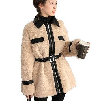 New Faux Mink Fur Parka 2019 Spring Women Office Coat Velvet Stitching Plush Pu Leather Jacket Slim Fit Belt Overcoat Best Pj347