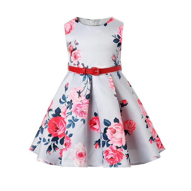 1d7c46e1cf237 2017 new fashion kids floral pattern frock dress children girls A line  fitting dress with belt for teeanger 2 14yrs-in Dresses from Mother & Kids  on ...