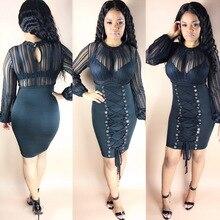 Fashion sexy nightclub bandage dress 2018 new arrivals women summer black long sleeve corn mesh sheath hip party dress