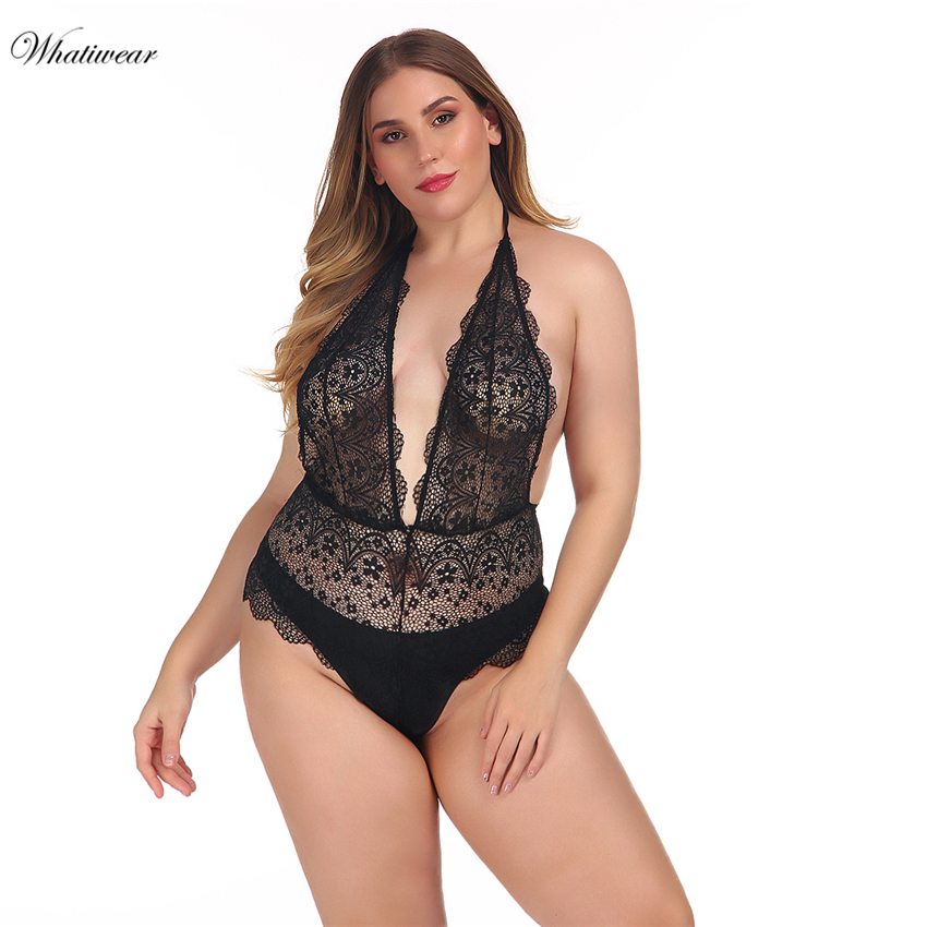 Whatiwear Plus Size Backless Halter Lace Bodysuit Transparent Female Body Hot Sexy Teddies Jumpsuits Women Deep V Sheer Bodysuit