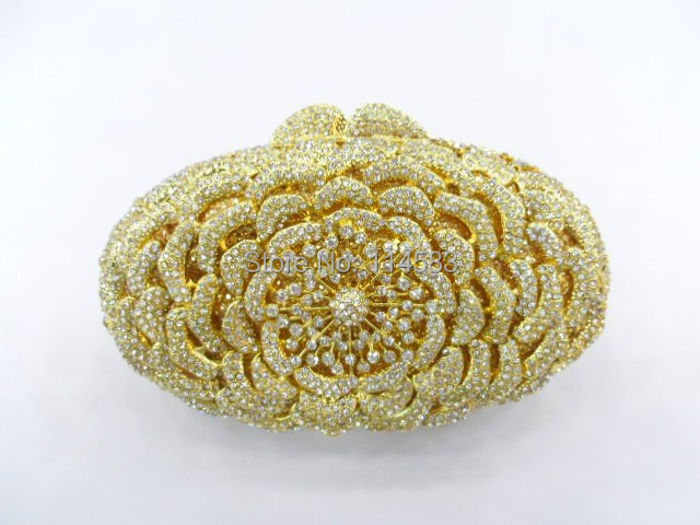 ФОТО 8247 Crystal OVAL Floral flower Rose Wedding Bridal Party Night Gold hollow Metal Evening purse clutch bag case handbag