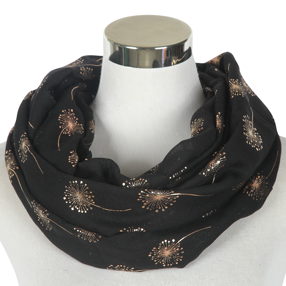 Winfox Fashion Black Pink Mint Green Round Snood Scarf Female Gold Foil Dandelion Circle Scarves Loop For Womens Ladies