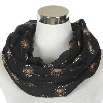 Winfox moda negro en verde menta y rosado redondo Snood bufanda femenina hoja de oro Dandelion círculo bufandas bucle para mujeres damas