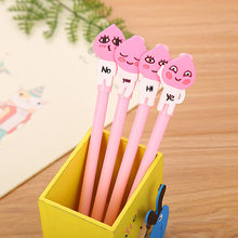 100PCS/SET Creative Stationery Soft Adhesive Patch Peach Son Neutral Pen Cute Cartoon Student Waterborne Needle Tube Office Pen(China)