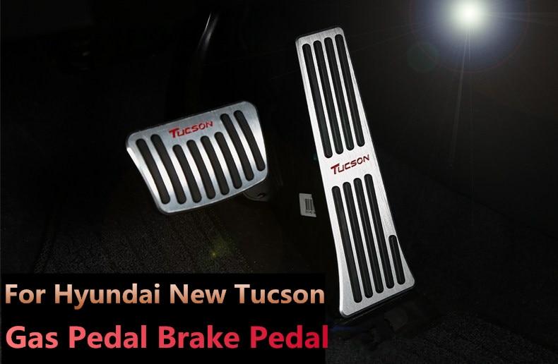 Brake Pedals For HYUNDAI Santa Fe TUCSON 2015-2017 No dirll AT Gas Fuel Brake Aluminum 2Pcs