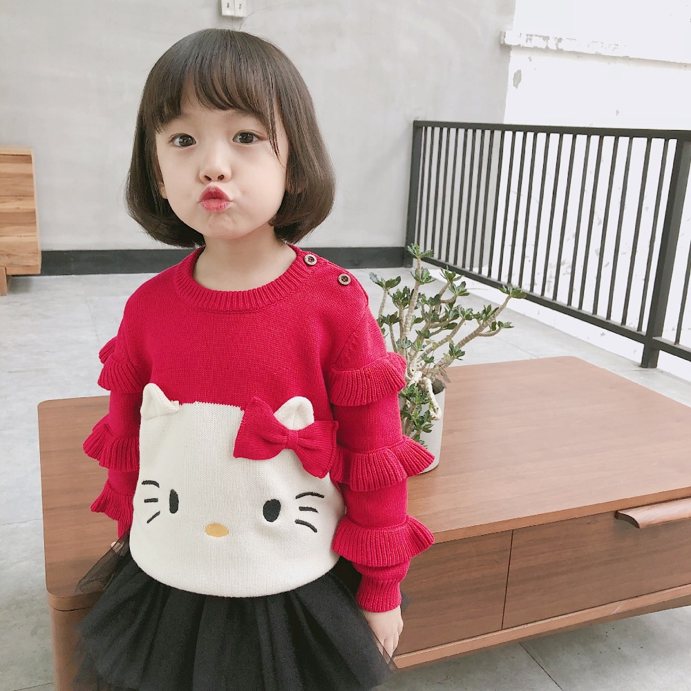 2018 autumn winter kids sweaters baby girl clothes cartoon cotton tops long sleeve red color girl pullover kids knit sweater недорго, оригинальная цена
