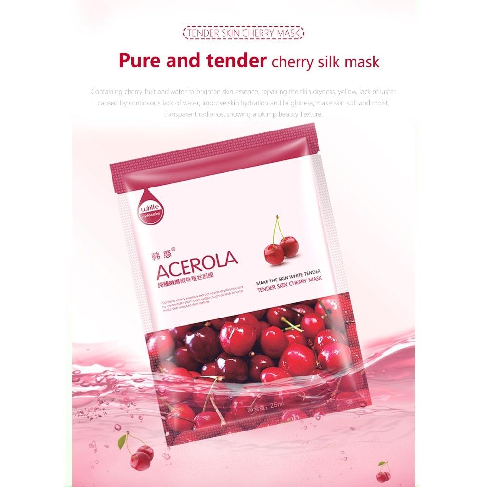 10Pcs Face natural silk Mask Cucumber Cucumber/Aloe vera/Bird's nest/Green tea/Cherry/pearl Facial Mask Moisturizing Beauty Mask 5