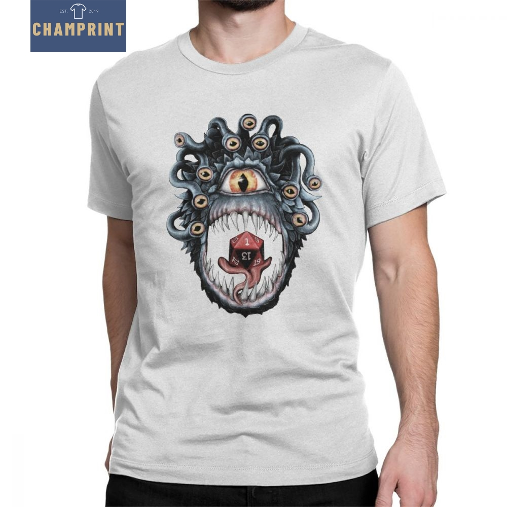 In The Beholder D20 Men T-Shirt Dice Critical DnD Dungeons And Dragon Funny Short Sleeved Clothes Pure Cotton Tees T Shirt