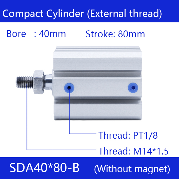 SDA40*80-B Free shipping 40mm Bore 80mm Stroke External thread Compact Air Cylinders Dual Action Air Pneumatic Cylinder