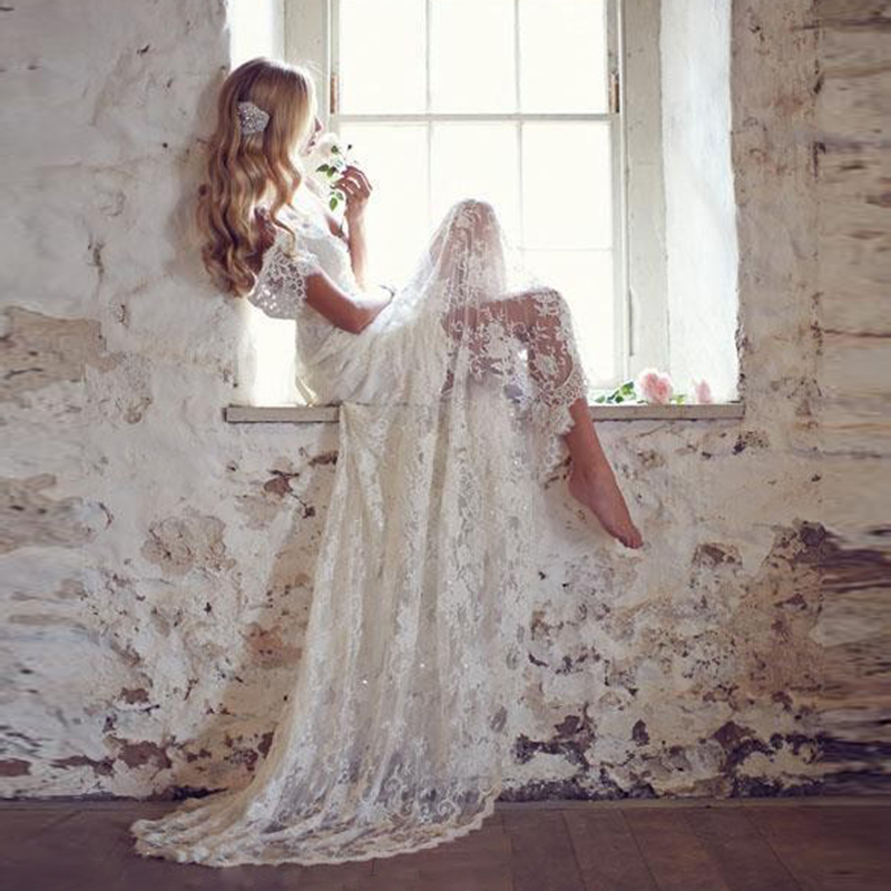 Romantic Lace White Boho Wedding Dress Bohemian Beach Wedding Gown Backless A Line Long Bride