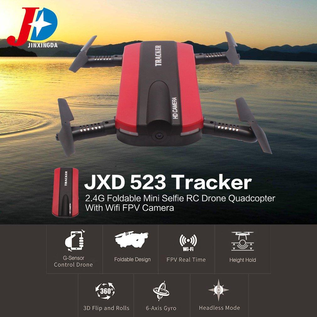 JINXINGDA 523 Tracker 2,4G plegable Mini Selfie RC Drone Quadcopter con Wifi FPV Cámara altitud mantenga g-sensor VS JJRC H37
