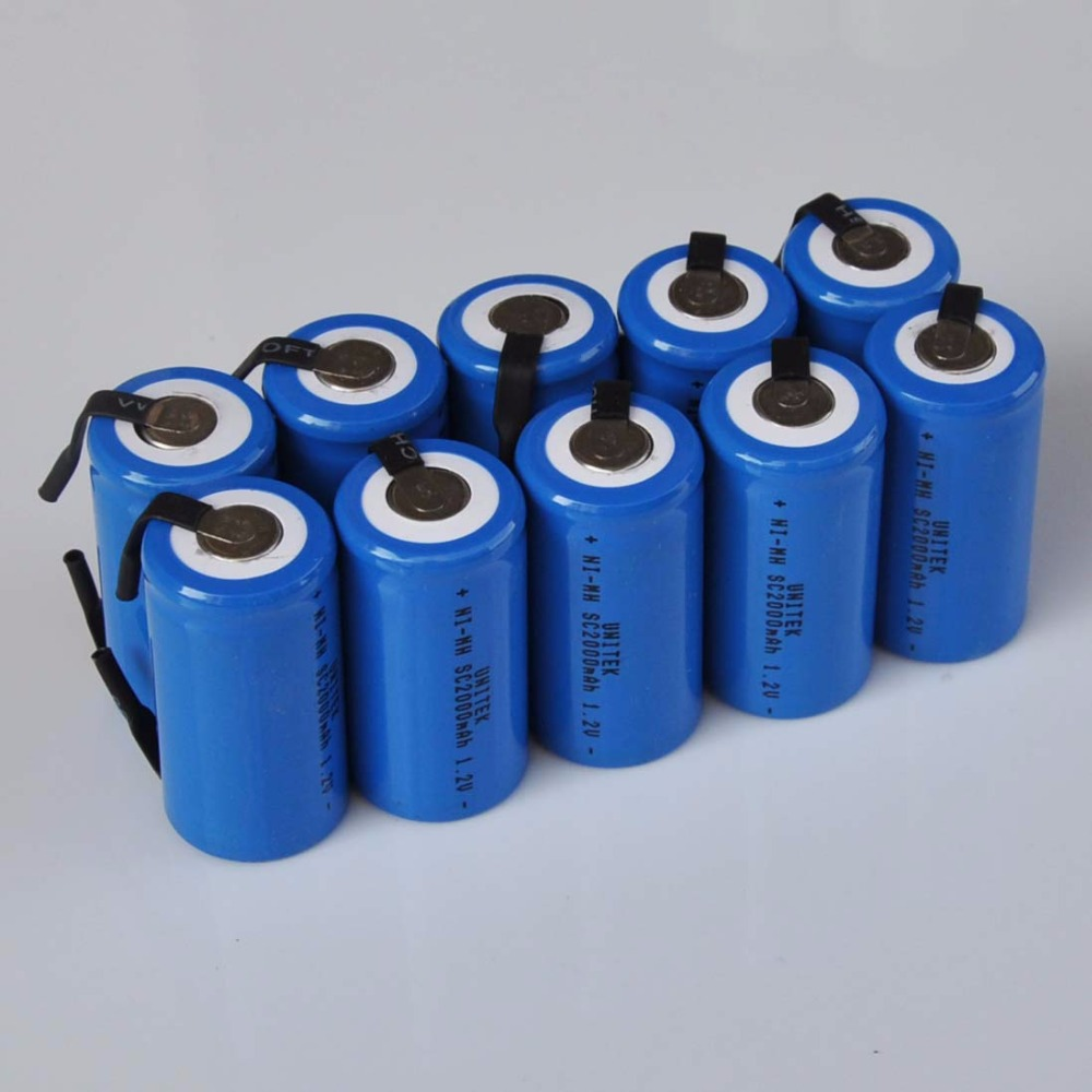 10-16PCS <font><b>1.2V</b></font> <font><b>SC</b></font> <font><b>rechargeable</b></font> <font><b>battery</b></font> 2000mah Sub C Ni-Mh ni mh cell with welding tabs for electric drill screwdriver power tool image
