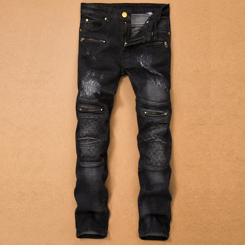 ФОТО Men's casual holes Distressed ripped Jeans for Men TornDenim Pants Male New Fashion Garment Washed skinny biker punk Jeans J015