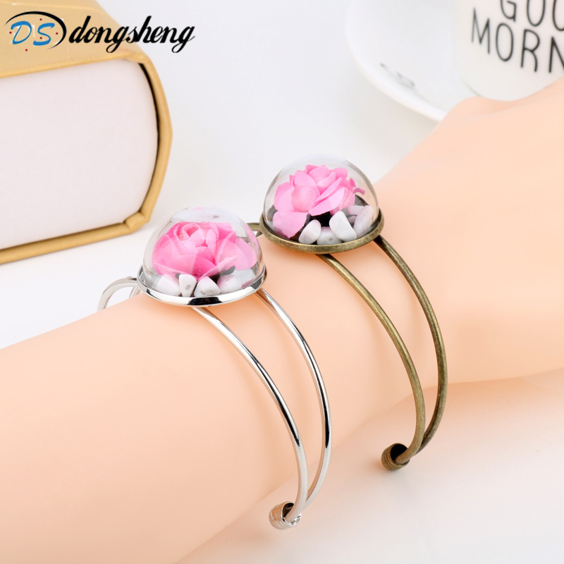 Movie Beauty And The Beast Vintage Rose Glass Flower Magic Bracelet Fashion Copper Bangles Rose ValentineS Day Gift -25