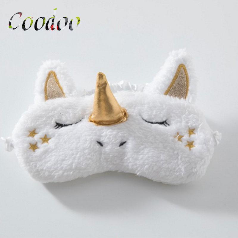 2PCS Unicorn Eye Mask Deer Plush Sleeping Eye Mask Furry blindfold Gold Silver Nose Sleep Eye Mask Stuffed & Plush Animals