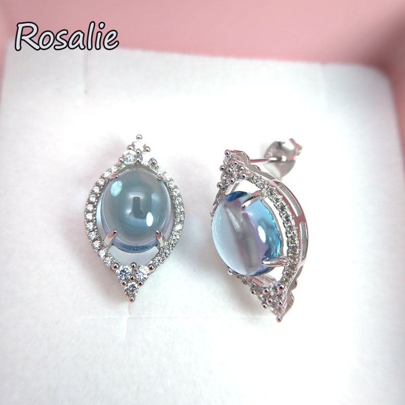 Rosalie,Natural Brazil sky blue topaz 8ct oval8*10mm gemstone stud earring 925 sterling silver fine jewelry for women party gift rosalie natural loose gemstone brazil real sky blue topaz oval 6 8mm 3 pc 4 5ct in one lot gemstone for silver jewelry mounting