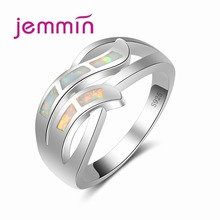 Newest Hollow Out Geometric Design White Opal Rings For Women Party Jewelry S925 Stamped Sterling Silver Wedding Ring