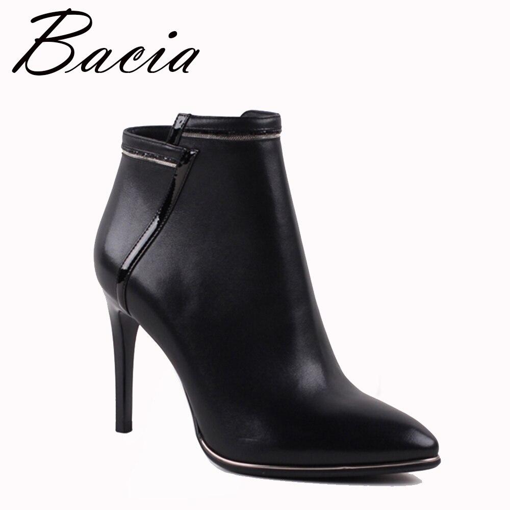 Bacia Привлекательные женские ботинки из натуральной кожи зимние ботильоны с высоким каблуком Для женщин осень женские полусапожки новая мол...