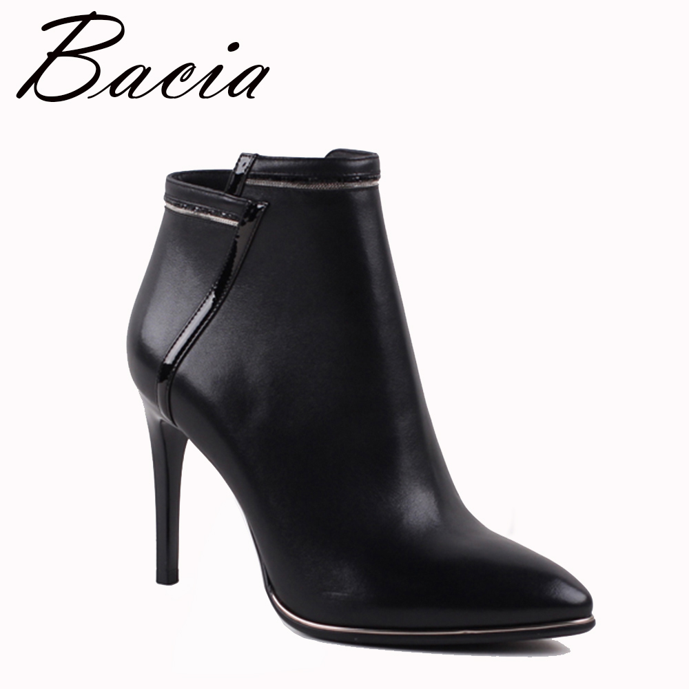 Bacia Sexy Women Boots Genuine Leather Winter High Heels Ankle Boots Shoes Women Fall Ladies Short Boots New Zip Big Size VXA009 warm winter fur leather women ankle boots high heels sexy comfortable shoes ladies short boots cutout shoes big size