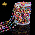 Colourful Rainbow Shell Chip Beads Chains Jewelry,Rosary Style Plated Bronze Wire Wrapped Links Necklace Shell Nuggets HX008