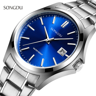 neos brand genuine watch men s stainless steel straps simple business fashion waterproof quartz fashion men s watch SONGDU Brand Fashion Sports Watches Men Business Casual Quartz Watch Stainless Steel Waterproof Mens Watches Relogio Masculino