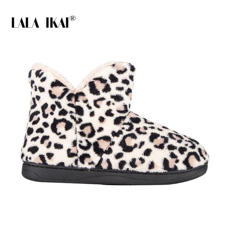 LALA IKAI kadınlar kış ayak bileği ayakkabı yün kısa çizmeler kadın pamuk Slip-on leopar çizmeler sıcak tutmak rahat kar botları XWA5992-4