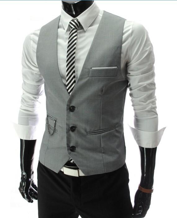 2019 New Arrival Dress Vests For Men Slim Fit Mens Suit Vest Male Waistcoat Gilet Homme Casual Sleeveless Formal Business Jacket 4