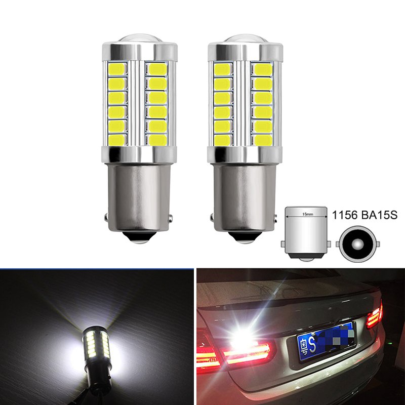 2Pcs P21W BA15S 1156 LED Car <font><b>Brake</b></font> Light S25 Auto Reverse Lamp Turn Signal Bulbs Backup Lights White For <font><b>BMW</b></font> E46 E60 E36 <font><b>E30</b></font> F30 image