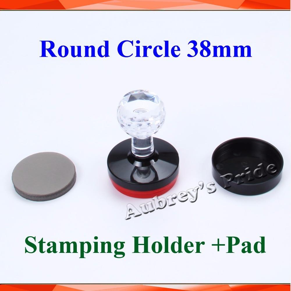 5Pcs 38mm Round Circle Diameter Flash Blank Stamp Shell Holder +7mm Rubber Pad Photosensitive Selfinking Stamping Making Seal circle
