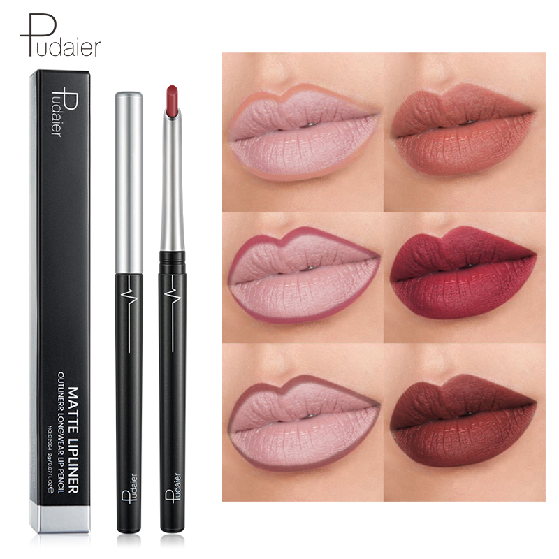 Pudaier Nude Pink Matte Lipliner Lip Pencil Smooth Easy To -8439