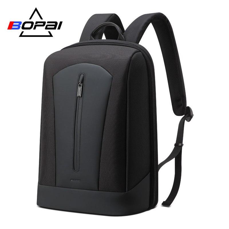 BOPAI 2019 黒バックパックビジネスメンズラップトップバックパック男性リュックサック独立したメインバッグスクールバックパック通気性バック  グループ上の スーツケース & バッグ からの バックパック の中 1