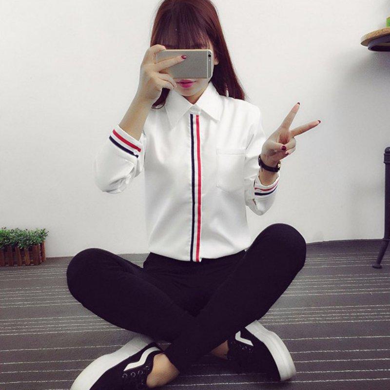 Fesyen OL Striped Long Sleeve Lapel Shirt Button kasual Down Tops - Pakaian wanita - Foto 2