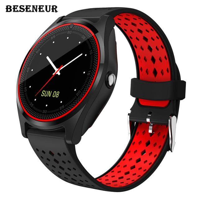 Beseneur Смарт-часы V9 Bluetooth часы Поддержка sim-карты Шагомер smartwatch анти-потерянный часы телефон для Android PK DZ09 GT08