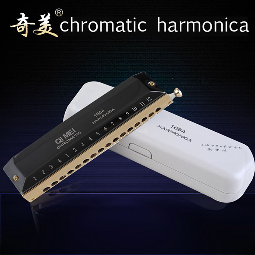 Chromatic Harmonica QIMEI 16 Holes/64 Tones Mouth Organ High Quality Professional Wind Musical Instrument Black C-D4