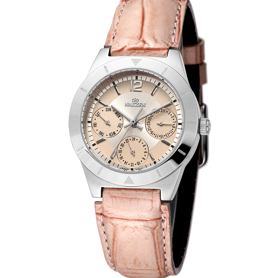 NAKZEN Brand  luxury Fashion Casual quartz Pink  Watch Women Unique Stylish watches PU leather sport Lady wristwatches