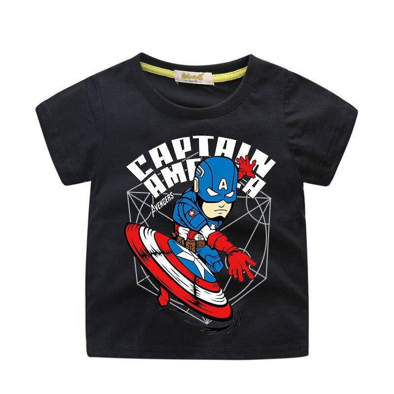 Herói Capitão América T-shirt Miúdos Dos Desenhos