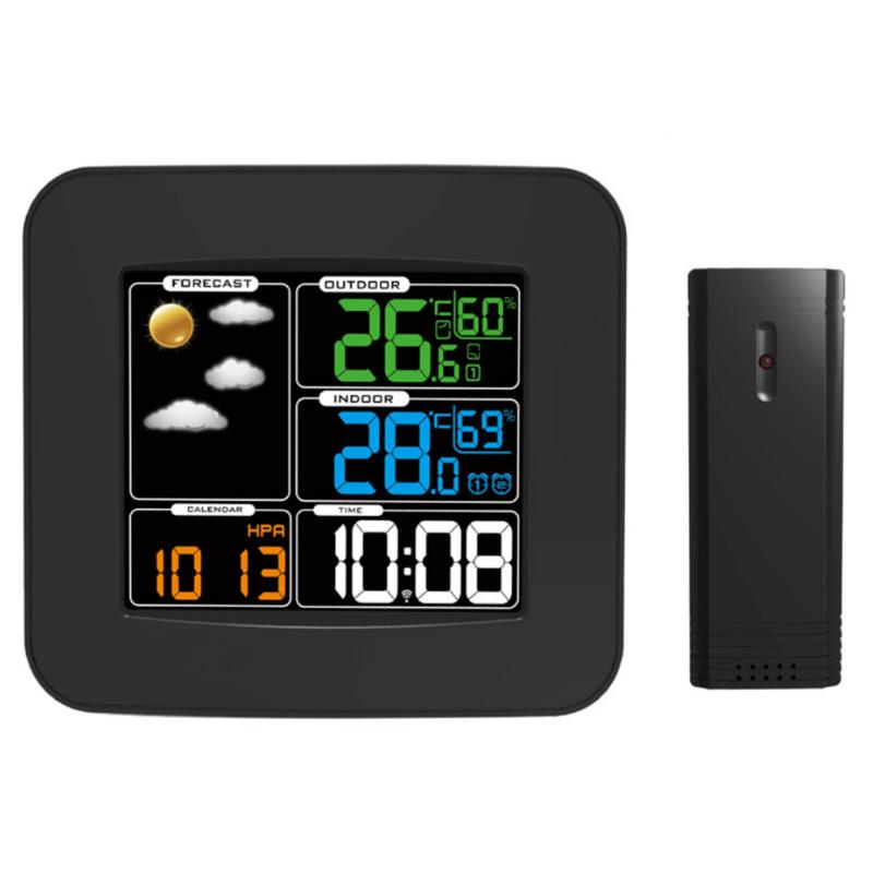Digital LCD Thermometer Hygrometer Wireless Weather Station Alarm Clock Temperature Humidity Monitor Meter Colorful LCD Display lcd color display wireless forecasting weather station digital thermometer hygrometer temperature humidity meter alarm clock