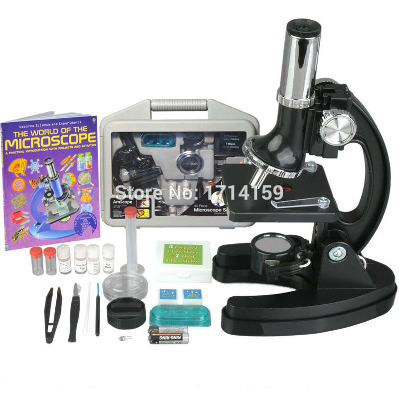 AmScope Kids 300X-600X-1200X Metal Arm Children Biological Microscope Kit + Microscope Book jetery biological microscope new 300x 600x 1200x biological beginner zoom microscope kit set for student gift