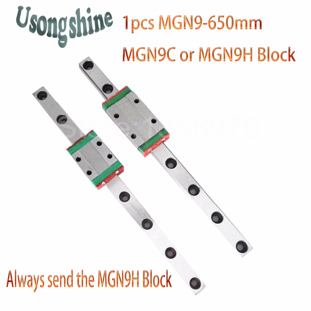 1pcs 9mm for Linear Guide MGN9 650mm L= 650mm for linear rail way + MGN9C or MGN9H for Long linear carriage for CNC X Y Z Axis 1pcs mgn9 175mm linear rail 1pcs mgn9h carriage
