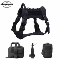 Military Tactical Dog Vest Service Dog Modular Harness Hunting Molle Dogs Vest With Pouches Water Bottle Carrier Bag