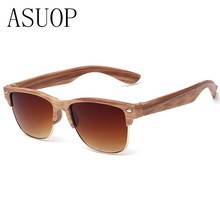 ASUOP2017 new classic wood grain glasses brand retro cat's eye high-end sunglasses women's sunglasses men's UV400 sunglasses