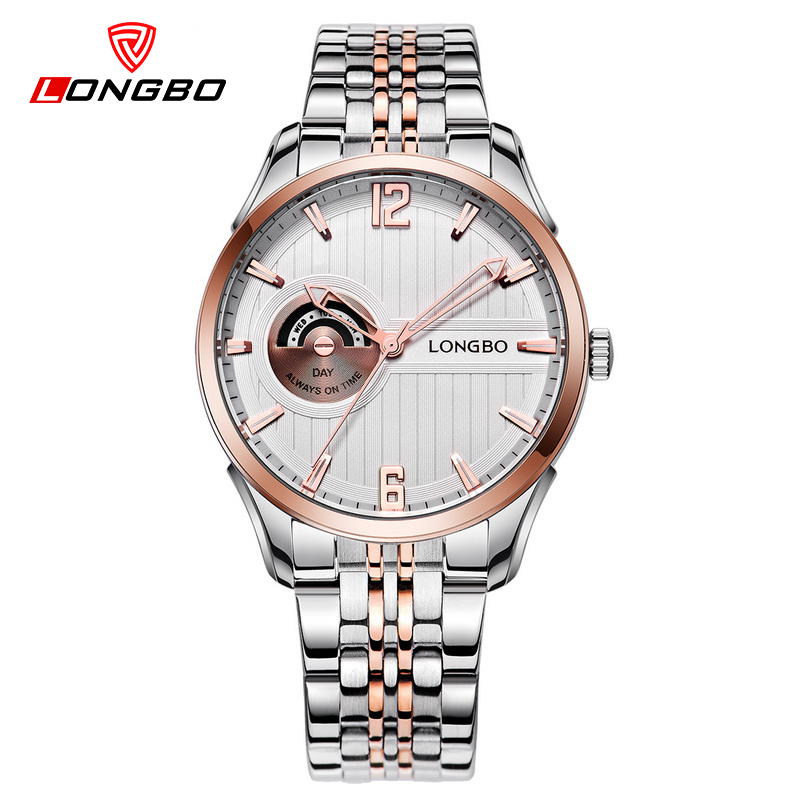 LONGBO Mens Watches Top Luxury Brand Full Steel Clock Men Watch Quartz Analog Waterproof WristWatch Saat Erkekler 5010