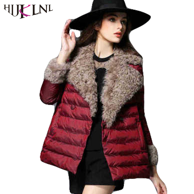 HIJKLNL 2017 Ultra Light   Down   Jacket For Girl Winter   Down     Coat   Fashion Women Slim Turn   Down   Fur Collar   Down   Parkas Poncho AC285