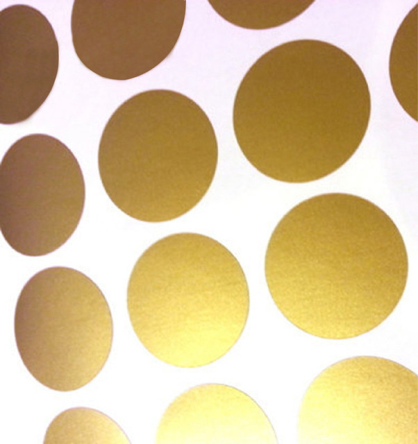 Polka Dot Wall Sticker Gold Wall Decal , Peel and Stick