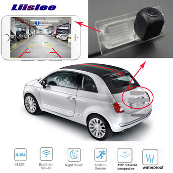 LiisLee  car rear WIFI camera for FIAT 500 2007~2015 hd Night Vision Reverse Camera Backup wireless