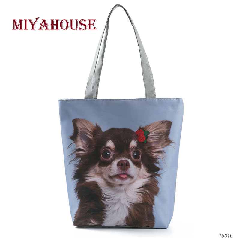 Cute Animals Printed Beach Bags Women Cute Dog And Floral Design Shoulder Bag Female Casual Canvas Tote Handbags